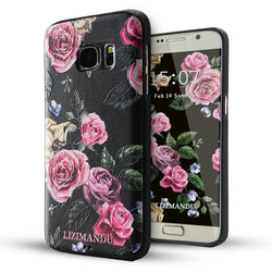 Samsung Galaxy S7 Case,LIZI MANDU Soft TPU textured pattern Case for Samsung Galaxy S7(Black Background Rose)
