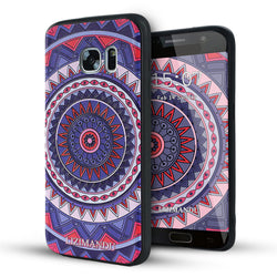 Samsung Galaxy S7 Case,LIZI MANDU Soft TPU textured pattern Case for Samsung Galaxy S7(Red Purple Compass)