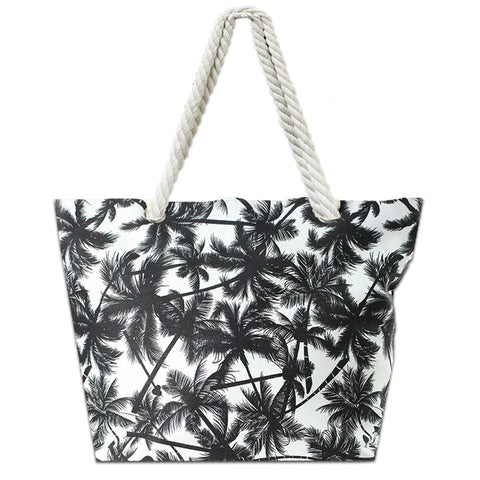 LIZI MANDU Beach Bag Canvas Tote Bag With Inner Zipper Pocket - Tote with Rope Handles(Black Leaves)