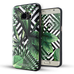Samsung Galaxy S7 Case,LIZI MANDU Soft TPU textured pattern Case for Samsung Galaxy S7(Black Striped Leaves)