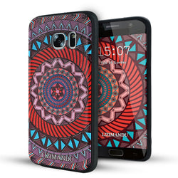 Samsung Galaxy S7 Case,LIZI MANDU Soft TPU textured pattern Case for Samsung Galaxy S7(Dark Red Compass)