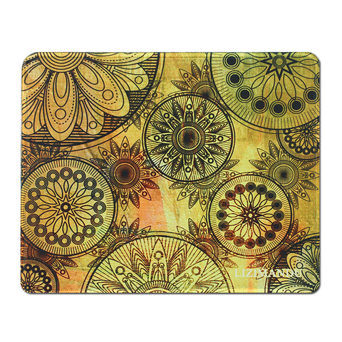Mouse Pad(10.2 inch x 8.2 inch) ,LIZI MANDU Premium Quality Pattern Anti Slip Computer PC Gaming Mouse Mat Soft Comfort Feel Finish(Gold Flower)