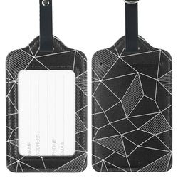 LIZI MANDU PU Leather Luggage Tags Suitcase Labels Bag Travel Accessories - Set of 2(Black Fragment-New)