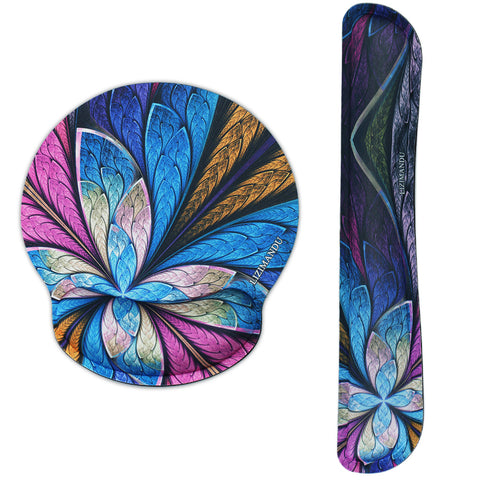 Keyboard Wirst and Round Mouse Wrist Rest Pads - LIZI MANDU Non-slip Rubber Base Soft Keyboard Wrist Rest Pad,Mouse Pad with Wrist Support for Computer and Laptop(Blue Fractal Flower)