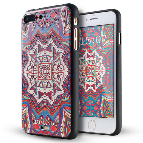 iPhone 8 Plus Case, iPhone 7 Plus Case, LIZI MANDU TPU Texture Pattern Case for iPhone 7 8 Plus(Maya Totem)