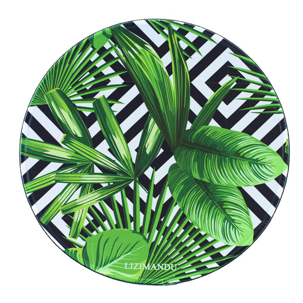 Mouse Pad (9.8 inch x 9.8 inch) ,LIZI MANDU Premium Quality Pattern Anti Slip Computer PC Round Mouse Mat Soft Comfort Feel Finish(Black Striped Leaves)