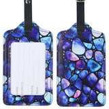 LIZI MANDU PU Leather Luggage Tags Suitcase Labels Bag Travel Accessories - Set of 2(Blue Stone)