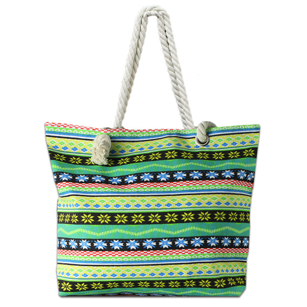 LIZI MANDU Beach Bag Canvas Tote Bag With Inner Zipper Pocket - Tote with Rope Handles(Green Bohemia)