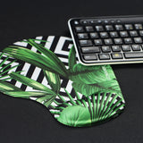 Memory Foam Non Slip Mouse Pad Wrist Rest For Office, Computer, Laptop & Mac - Durable & Comfortable & Lightweight For Easy Typing & Pain Relief-Ergonomic Support(Black Striped Leaves)