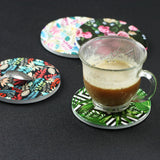 Ceramic Coasters Set of 4,LIZI MANDU Orignal Design Coffee Cup Ceramic Coasters For Drinks with cork backing non-slip (each almost 4 X 4 inches)(Plant)