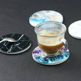 Ceramic Coasters Set of 4,LIZI MANDU Orignal Design Coffee Cup Ceramic Coasters For Drinks with cork backing non-slip (each almost 4 X 4 inches)(Marble)