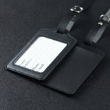 LIZI MANDU PU Leather Luggage Tags Suitcase Labels Bag Travel Accessories - Set of 2(Black)