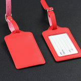 LIZI MANDU PU Leather Luggage Tags Suitcase Labels Bag Travel Accessories - Set of 2(Red)