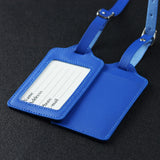 LIZI MANDU PU Leather Luggage Tags Suitcase Labels Bag Travel Accessories - Set of 2(Blue)