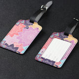 LIZI MANDU PU Leather Luggage Tags Suitcase Labels Bag Travel Accessories - Set of 2(Colorful Flower)