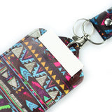 LIZI MANDU PU Leather Slim Credit Card Holder ID Card Badge Case Holder Useful Purse with Neck Strap(Africa Culture)