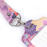 LIZI MANDU PU Leather Slim Credit Card Holder ID Card Badge Case Holder Useful Purse with Neck Strap(Colorful Flower)