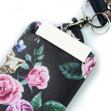 LIZI MANDU PU Leather Slim Credit Card Holder ID Card Badge Case Holder Useful Purse with Neck Strap(Black Rose)