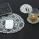 LIZI MANDU Anti Slip Soft Comfort Round Mouse Pad, Reward Rubber Coasters 2 Pack(Lace Flower Black)