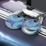 LIZI MANDU PU Leather Round Luggage Tags Suitcase Labels Bag - Set of 2(Green Flower)