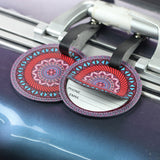 LIZI MANDU PU Leather Round Luggage Tags Suitcase Labels Bag - Set of 2(Red Compass)