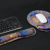 Keyboard Wirst and Round Mouse Wrist Rest Pads - LIZI MANDU Non-slip Rubber Base Soft Keyboard Wrist Rest Pad,Mouse Pad with Wrist Support for Computer and Laptop(Blue Flower)