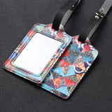 LIZI MANDU PU Leather Luggage Tags Suitcase Labels Bag Travel Accessories - Set of 2(Trangle)