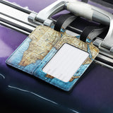 LIZI MANDU PU Leather Luggage Tags Suitcase Labels Bag Travel Accessories - Set of 2(World Map)