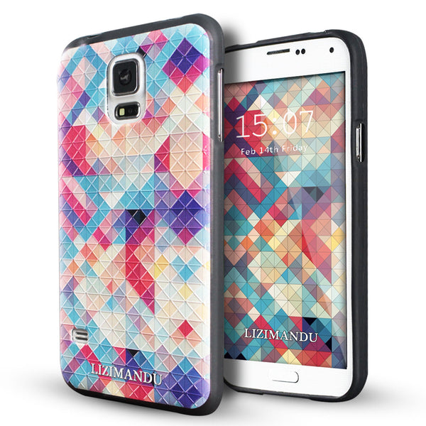Samsung Galaxy S5 case,LIZI MANDU soft TPU textured pattern Case for Samsung Galaxy S5(Colorful Pizzle)