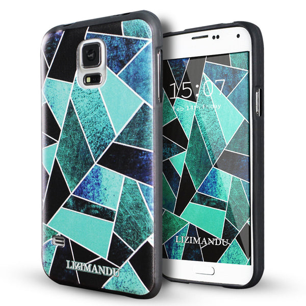 Samsung Galaxy S5 case,LIZI MANDU soft TPU textured pattern Case for Samsung Galaxy S5(Green Fragment)