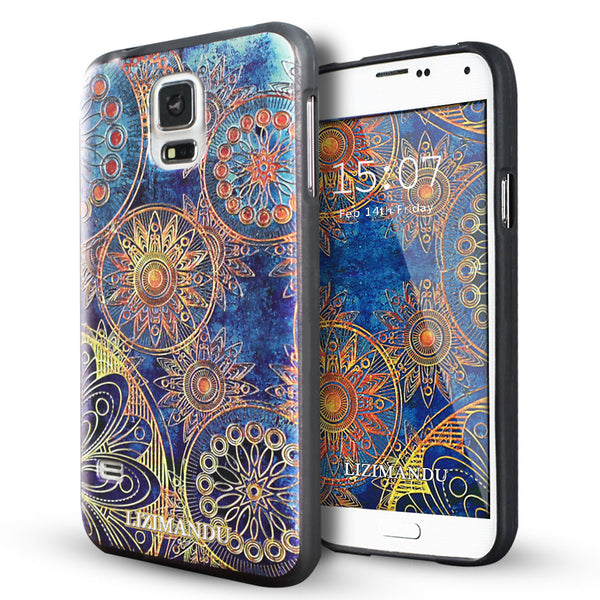 Samsung Galaxy S5 case,LIZI MANDU soft TPU textured pattern Case for Samsung Galaxy S5(Blue Flower)