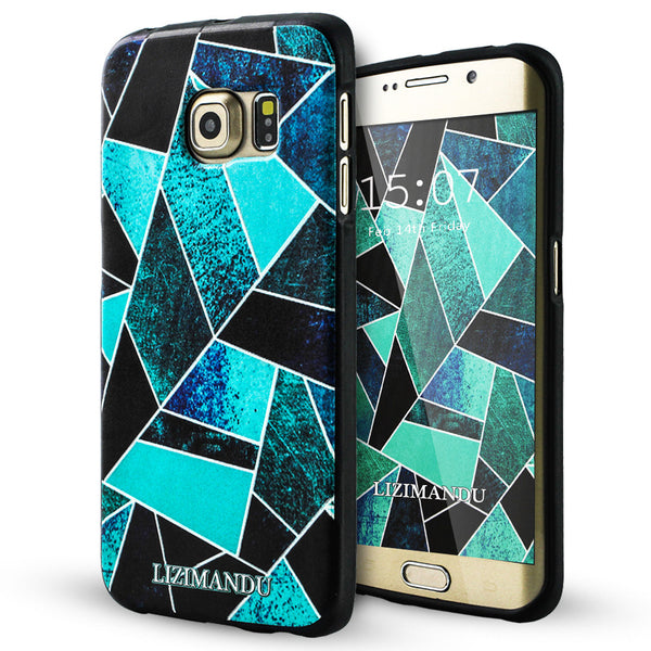 Samsung Galaxy S6 Case,LIZI MANDU Soft TPU textured pattern Case for Samsung Galaxy S6(Green Fragment)