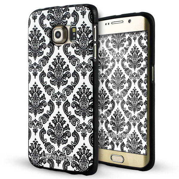 Samsung Galaxy S6 Edge Case,LIZI MANDU Soft TPU Textured Pattern Case for Samsung Galaxy S6 edge(Lace Flower Black)