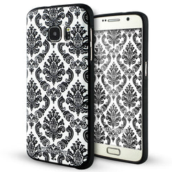 Samsung Galaxy S7 Case,LIZI MANDU Soft TPU textured pattern Case for Samsung Galaxy S7(Lace Flower Black)
