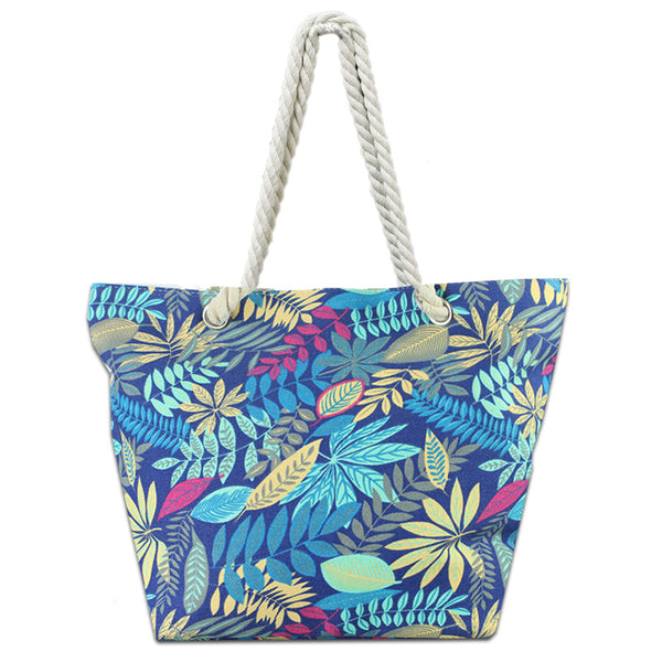 LIZI MANDU Beach Bag Canvas Tote Bag With Inner Zipper Pocket - Tote with Rope Handles(Blue Maple)