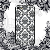 iPhone 8 Case, iPhone 7 Case, LIZI MANDU TPU Texture Pattern Case for iPhone 7 8(Lace Flower Black)