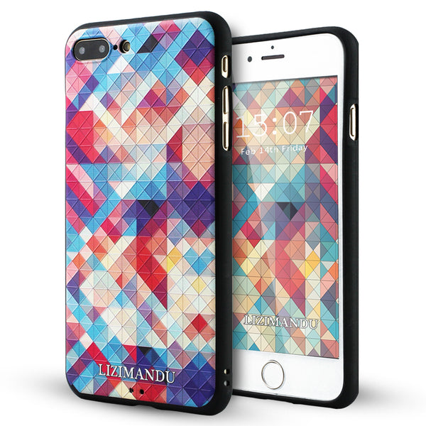 iPhone 8 Plus Case, iPhone 7 Plus Case, LIZI MANDU TPU Texture Pattern Case for iPhone 7 8 Plus(Colorful Pizzle)