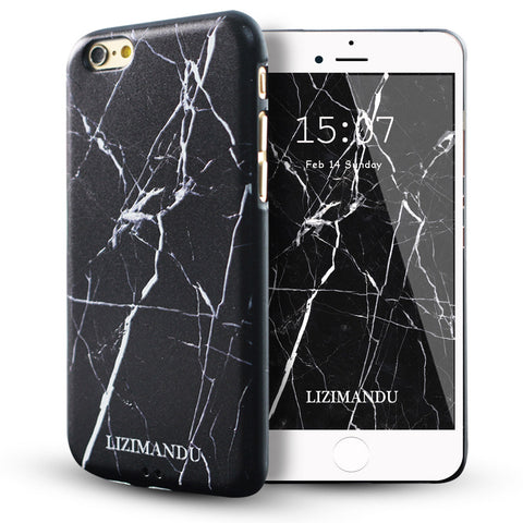 iPhone 6 / 6s Textured Soft Case (Black Marble)