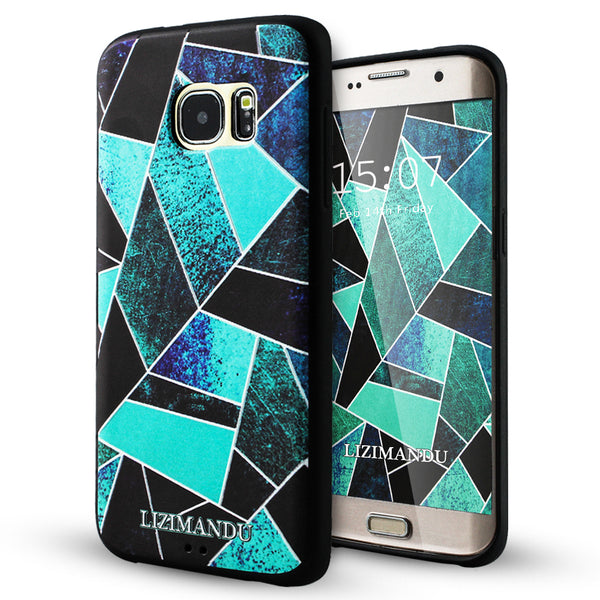 Samsung Galaxy S7 Edge case,LIZI MANDU TPU 3d pattern Case for Samsung Galaxy S7 Edge(Green Fragment)