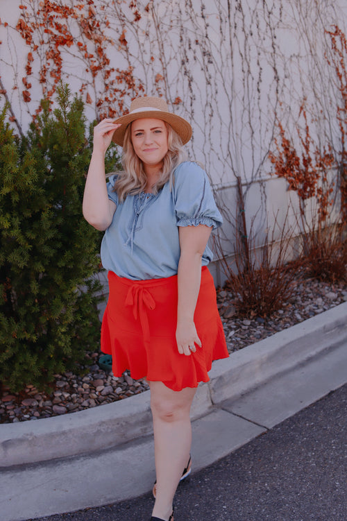PLUS - SUMMERVIEW SKORT//FIRECRACKER