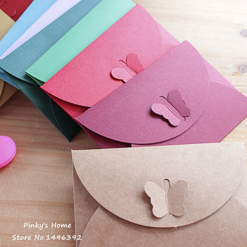 10PCS/LOT Colored Butterfly Buckle Kraft Paper Envelopes Simple Love Retro Buckle Decorative Envelope Small Paper Envelope