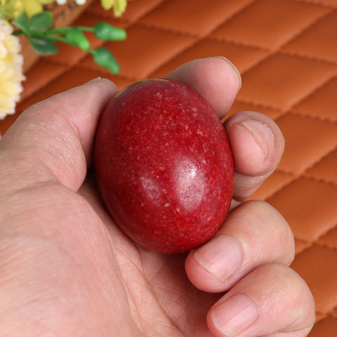 Natural White Jade Red Gemstone Egg Crystal Healing Sphere Massage Finger Handball