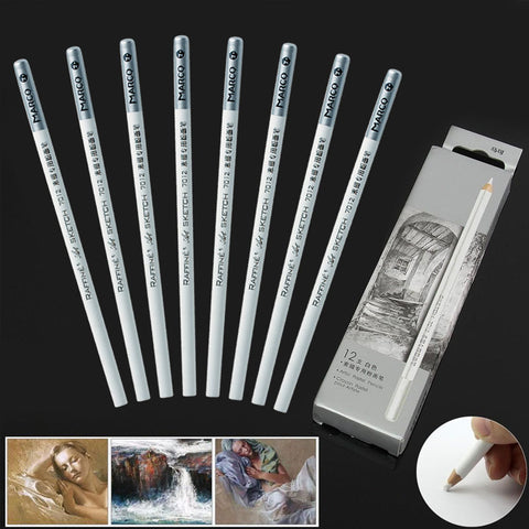 12pcs White Artist Pastel Sketch Art Drawing Nontoxic Base Fine Pencils