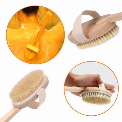 1Pc Natural Boar Bristle Wooden Brush Long Handle Massager Bath Shower Back Spa Body Brush Skin Bath Brush Bathroom Products