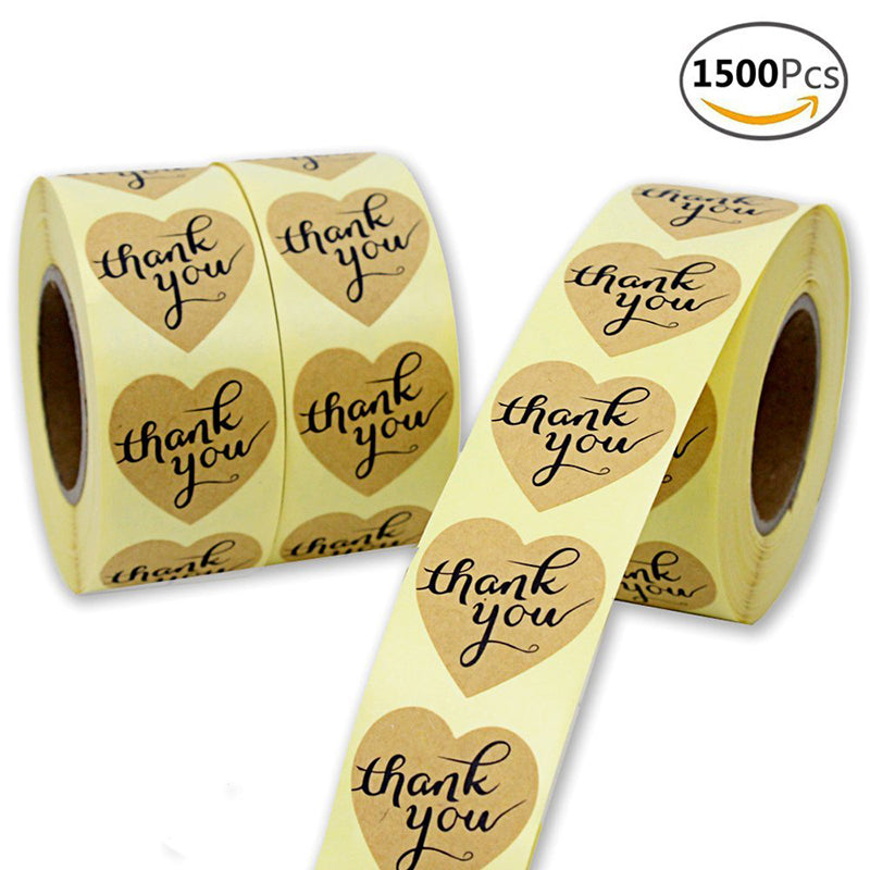 "Coceca 3 Rolls 1.5"" Heart-Shaped Thank You Sticker Craft Paper Thank You Label, 1500 Adhesive Labels,Decorative Sealing Stickers"