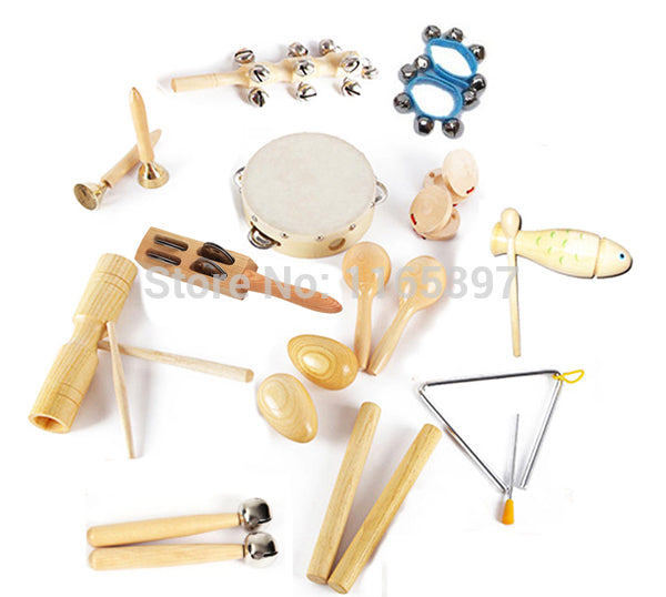Free ship fine quality affordable 1 set 12pc children kids wooden metal percussion musical instrument set music early education