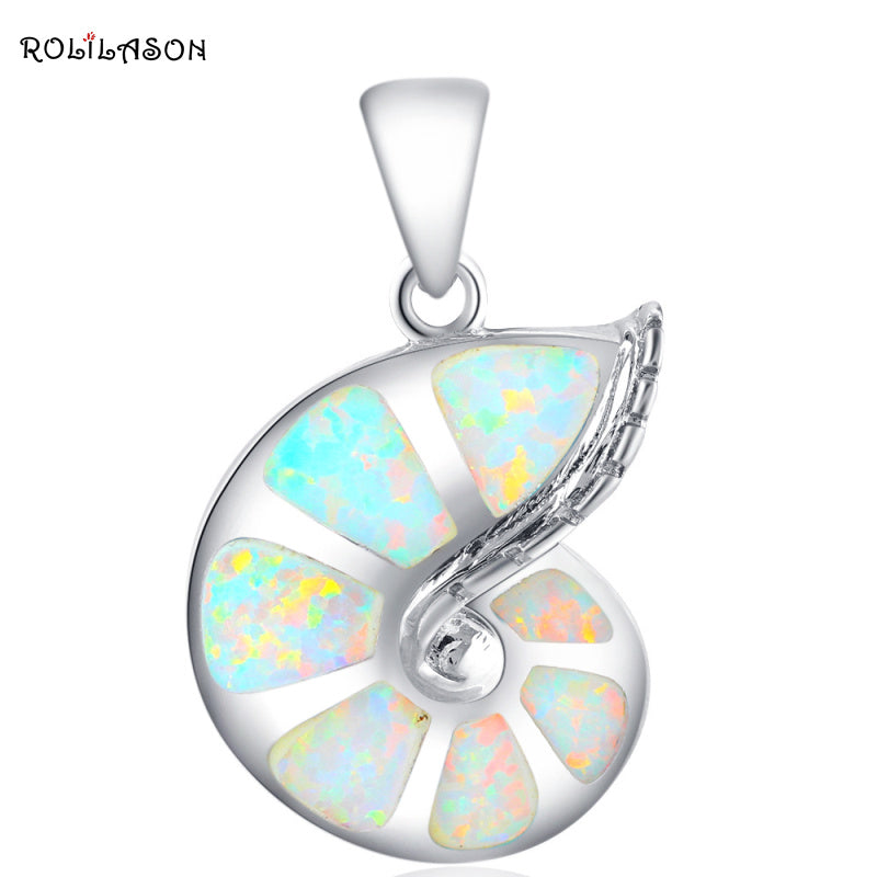 Conch design New White Fire Opal necklace Pendants for women gift Silver Stamped 925 Fashion jewelry OP416