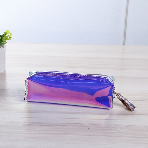 Mayitr 5 Colors Transparent Laser Travel Make Up Bag Holographic PU Leather Makeup Case For Cosmetic Tool
