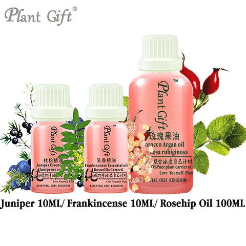 100% Pure Plant Essential Oils Juniper / Frankincense / Rosehip Oil 10ml Trial Pack Spanish Imports Remove Acne  Treatment Level