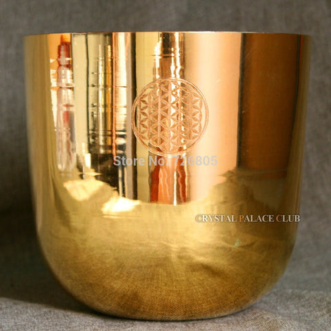 Alchemy Golden Quartz Crystal Singing Bowl with flower of life for sound healing